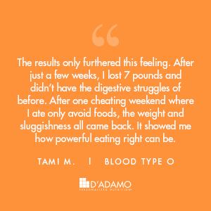 Tami M. - Blood Type Diet Success Story