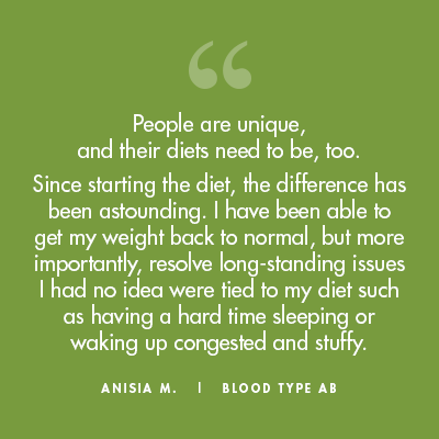 Anisia M. - Blood Type Diet Success Story