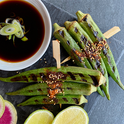 """""""Witches Fingers"""" Spiced Okra Skewers 