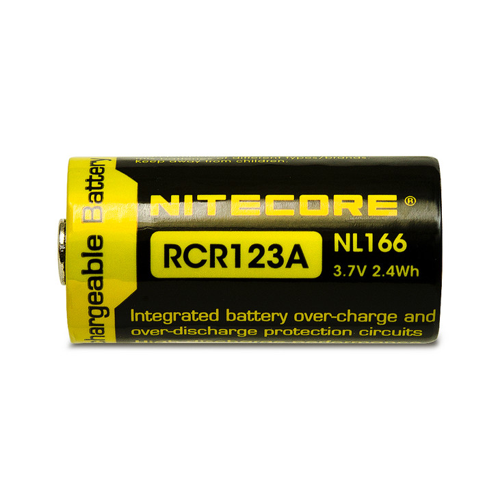 Nitecore NL166 RCR123A 16340 650mAh Battery - Protected Button Top