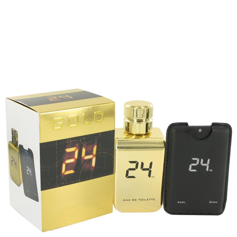 24 Gold The Fragrance Jack Bauer By Scentstory Eau De Toilette Spray + 0.8 oz Mini Pocket Spray for Men