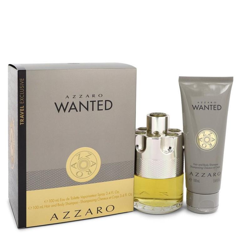 Wanted by Azzaro -- Gift Set - 3.4 oz Eau De Toilette Spray + 3.4 oz Shower Gel for Men