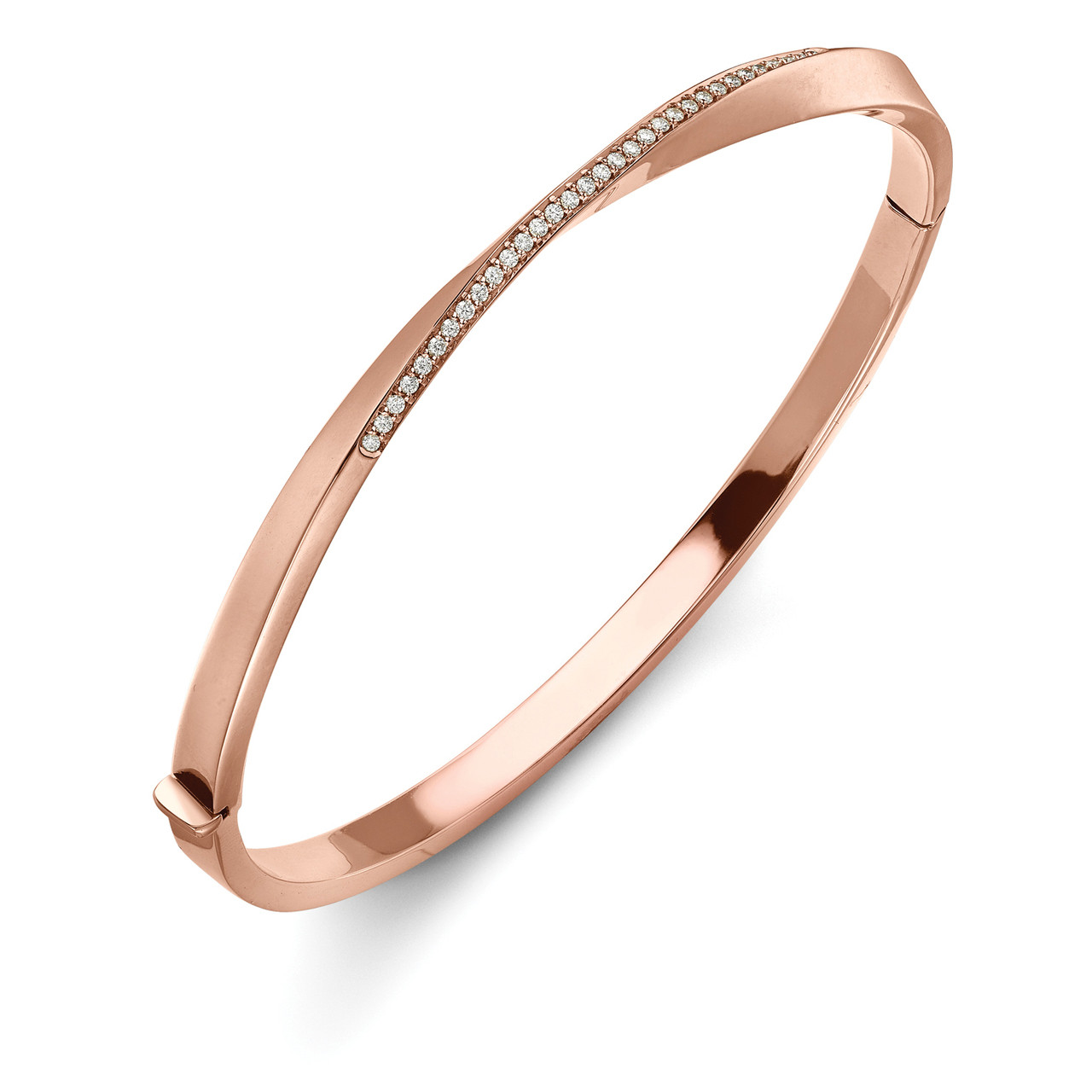 086471b317d60 18ct Rose Gold, Diamond Twist Bangle
