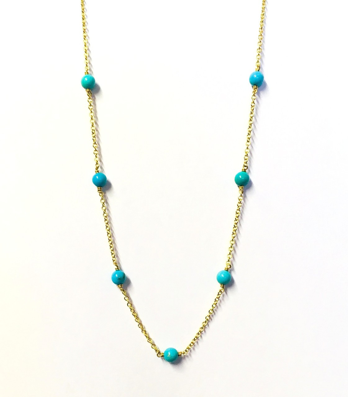 761ac01ad 9ct Yellow Gold & Turquoise Station Necklace - Gatwards Of Hitchin