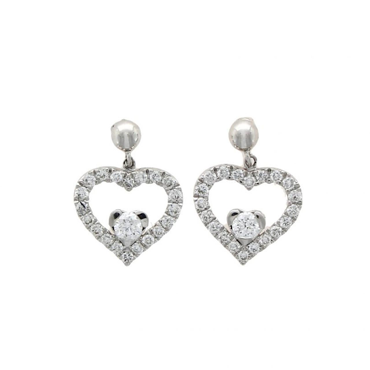 18ct White Gold Diamond Heart Drop Earrings Gatwards Of Hitchin
