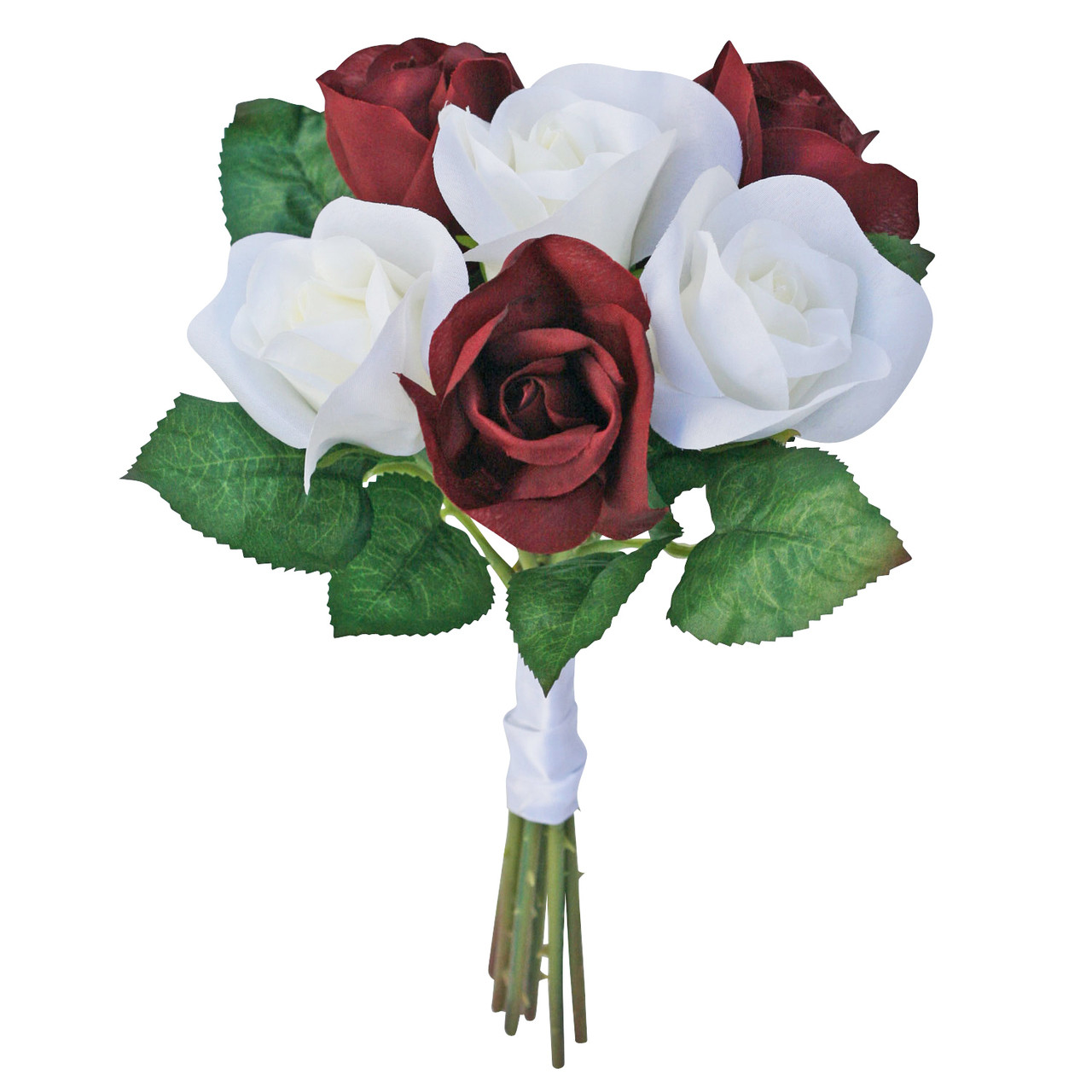 Burgundy And Ivory Silk Rose Toss Bouquet