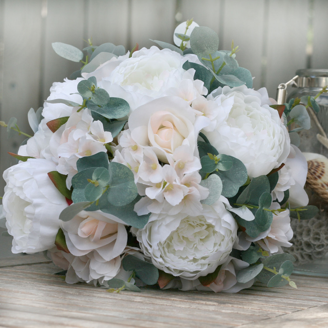 Artificial Wedding Bouquets.Ivory Blush Eucalyptus Artificial Wedding Bouquets Large