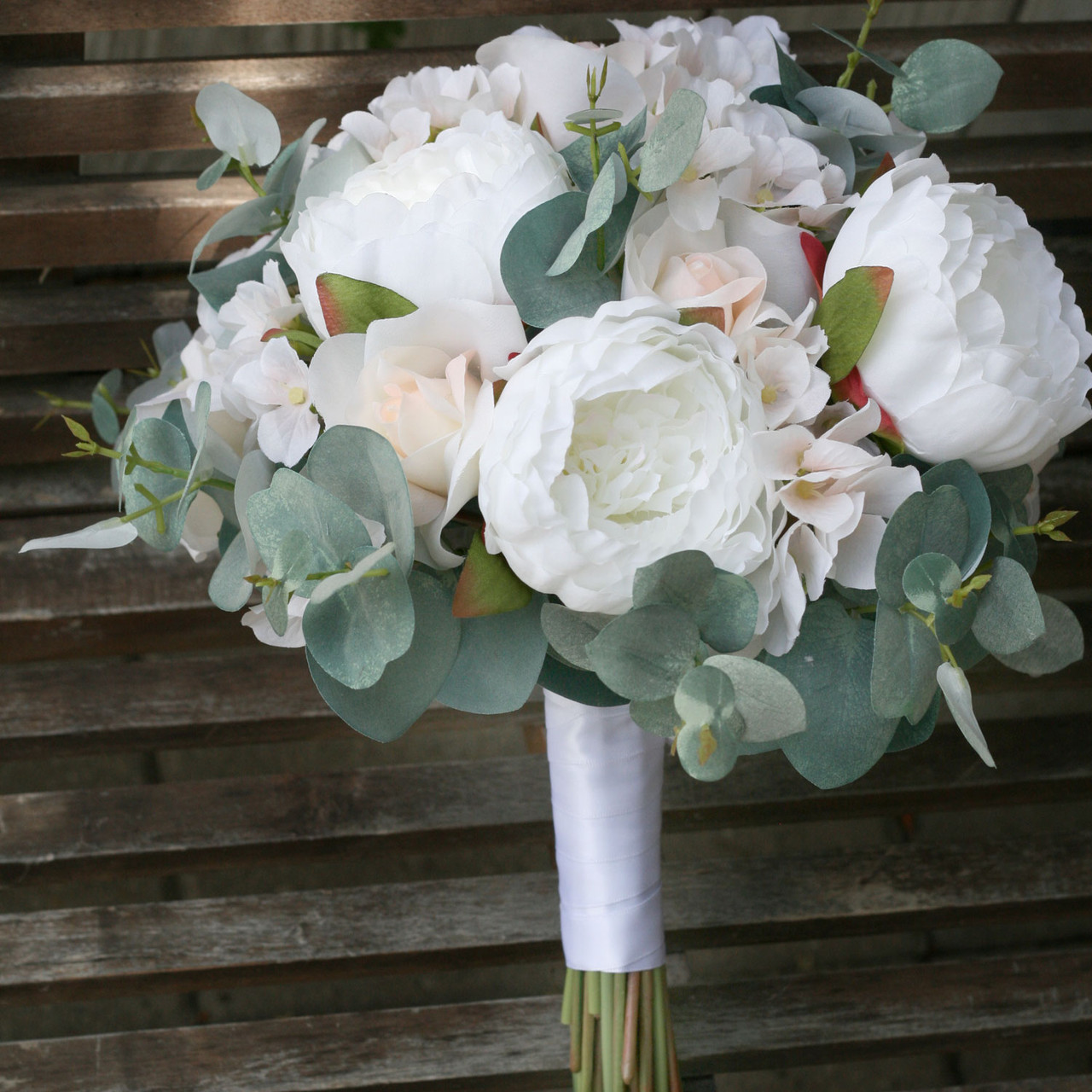 ivory blush eucalyptus artificial wedding bouquets (large)