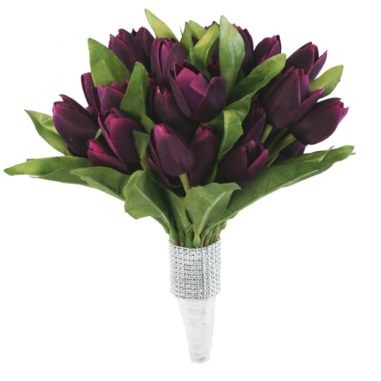 Silke Tulip Bouquet 54 Plum Silk tulipaner-7114
