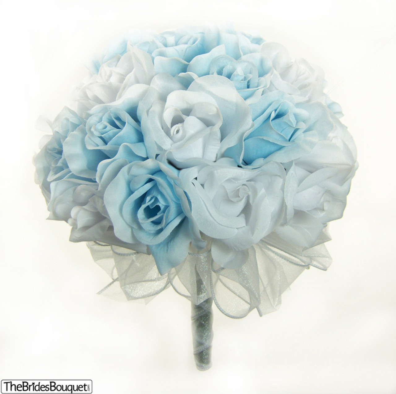 Blue And White Flowers For Weddings: Light Blue And White Silk Rose Hand Tied Bridal Bouquet
