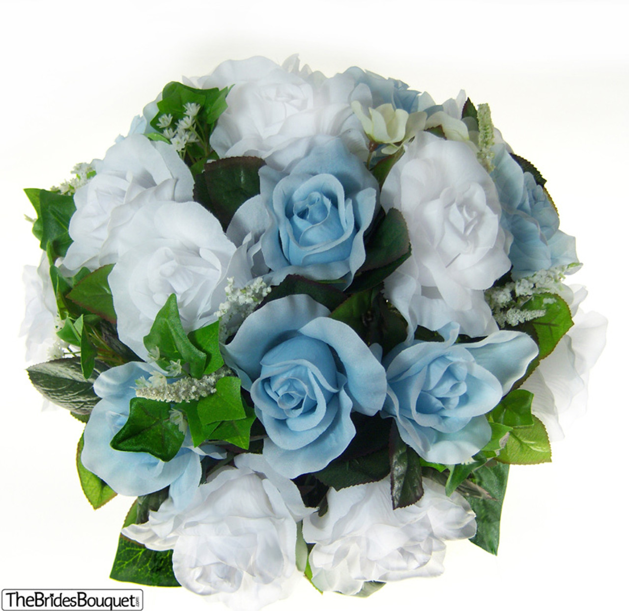 Blue And White Flowers For Weddings: Light Blue And White Silk Rose Nosegay Flower Bouquet