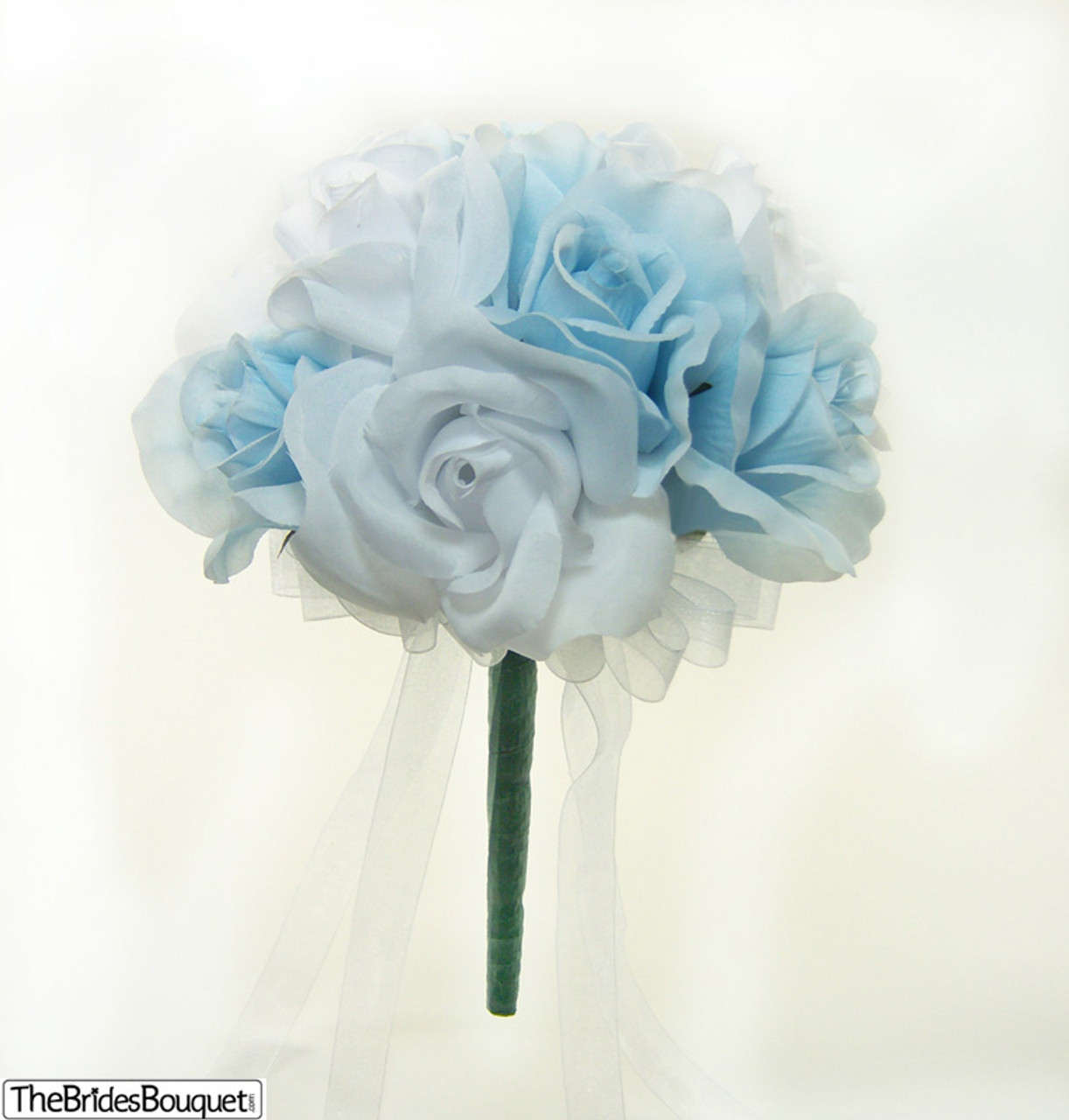 Light Blue Flowers For Weddings: Light Blue And White Silk Rose Wedding Bouquet