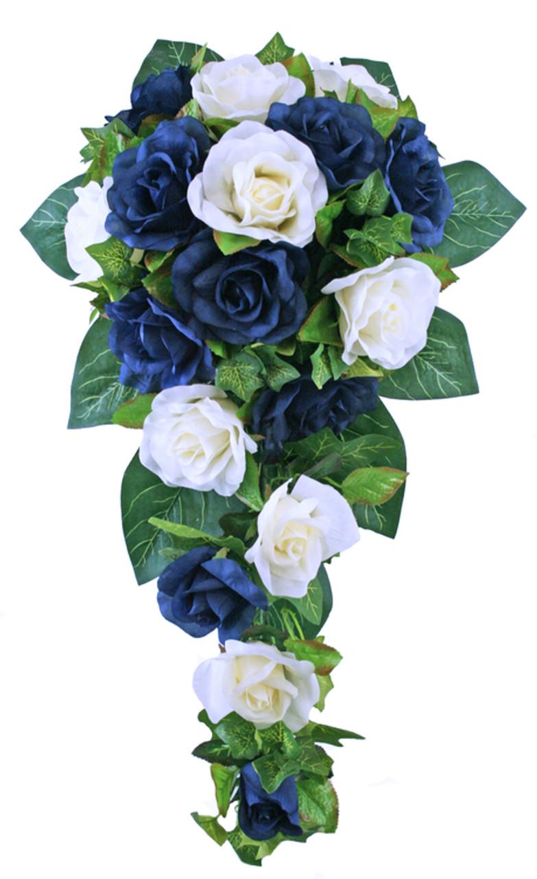 Wedding Flowers Online.Navy Blue And Ivory Silk Rose Cascade Artificial Wedding Flowers Silk Bridal Bouquet Wedding Bouquets