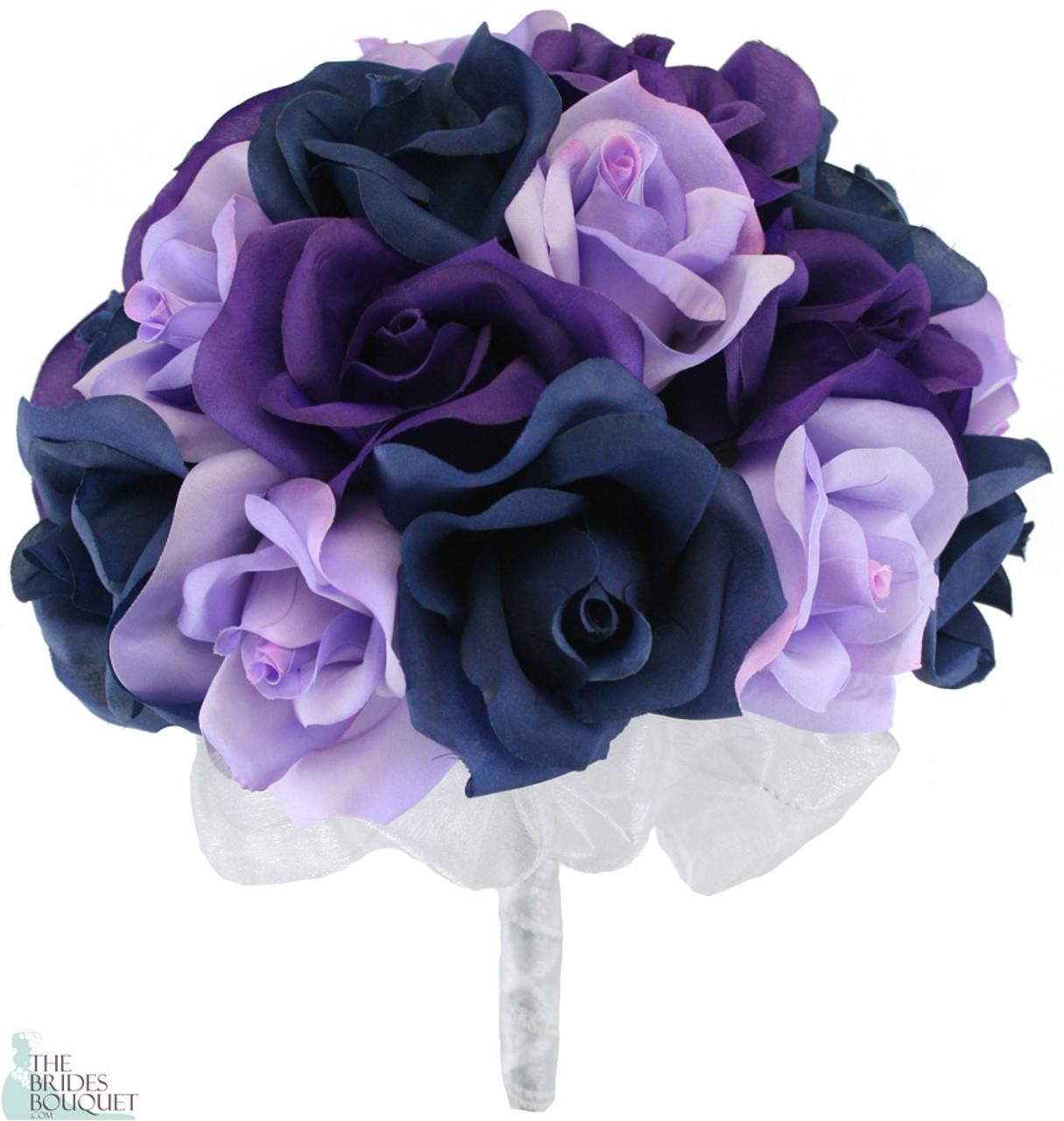 Navy Blue Lavender And Purple Silk Rose Hand Tied Bridal Bouquet 2 Dozen Roses