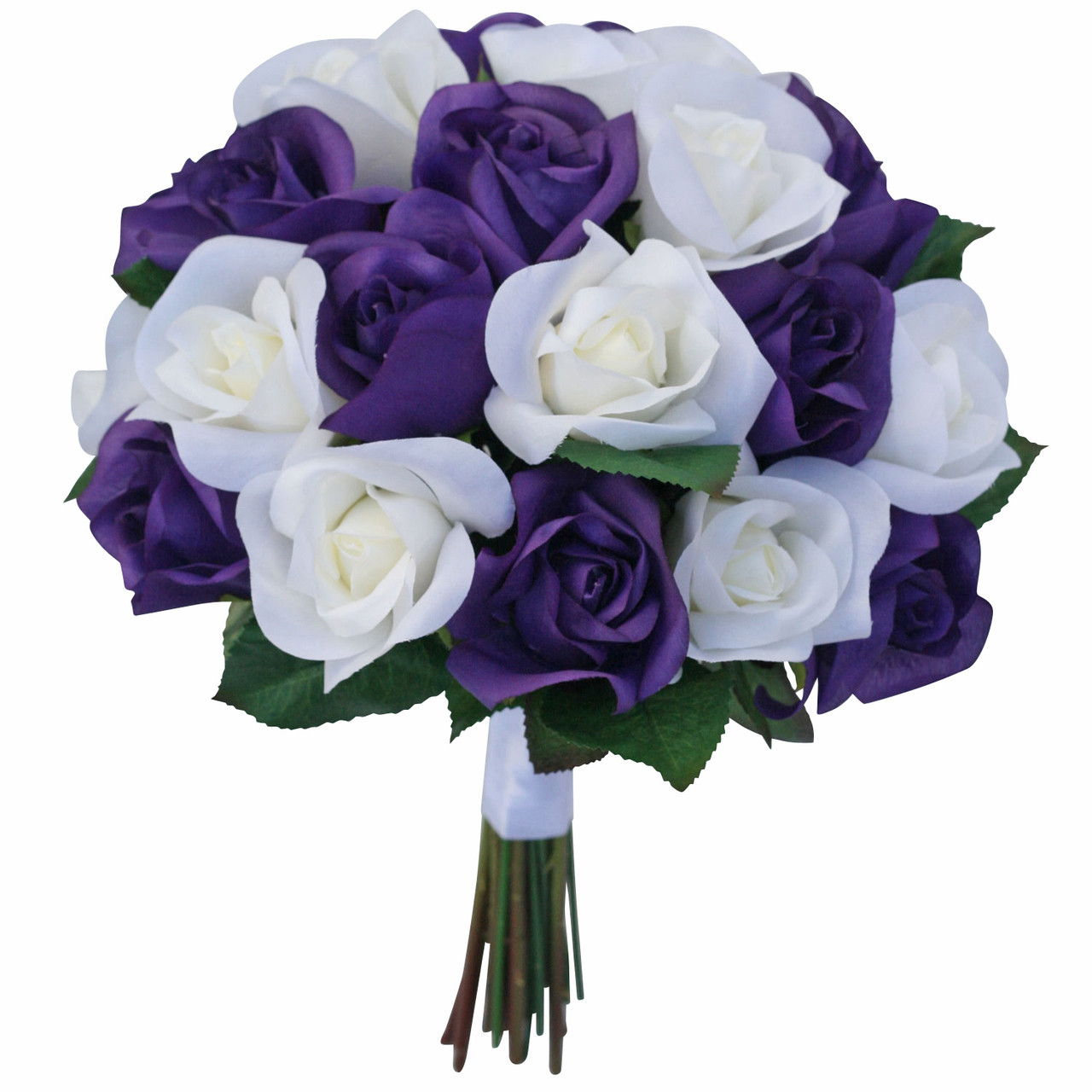 Flower Wedding Bouquet: Purple & Ivory Garden Rose Stem Fake Flower Bouquet