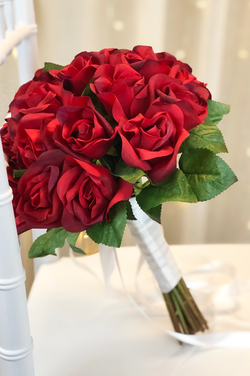 Red Rose Artificial Wedding Bouquets   Silk Bridal Flowers large