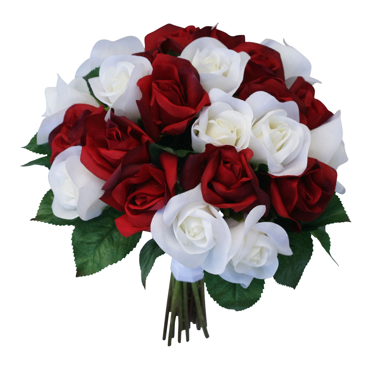 Artificial Wedding Bouquets.Red Ivory Silk Garden Rose Stems Artificial Wedding Bouquets Fake Wedding Flowers Large
