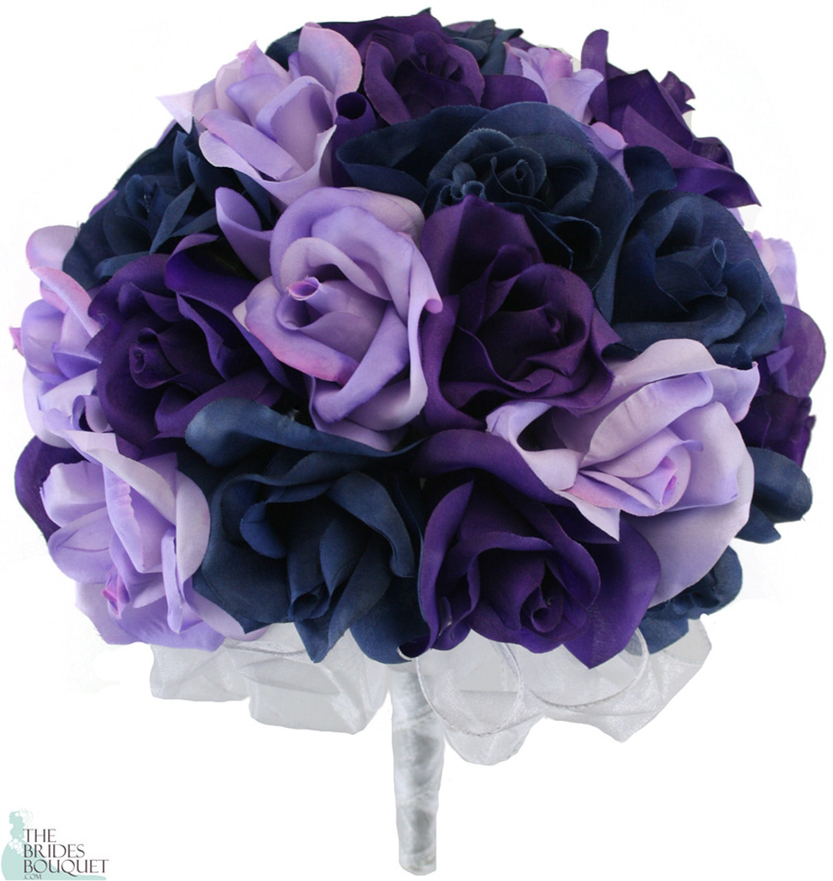 Navy Blue Lavender And Purple Silk Rose Hand Tied Wedding Bouquet