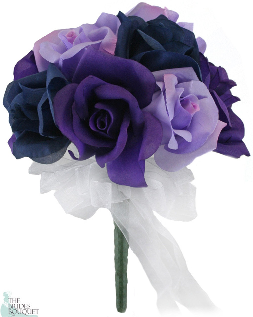 12 Roses Purple Lavender Navy Silk Flower Bridal Bouquet