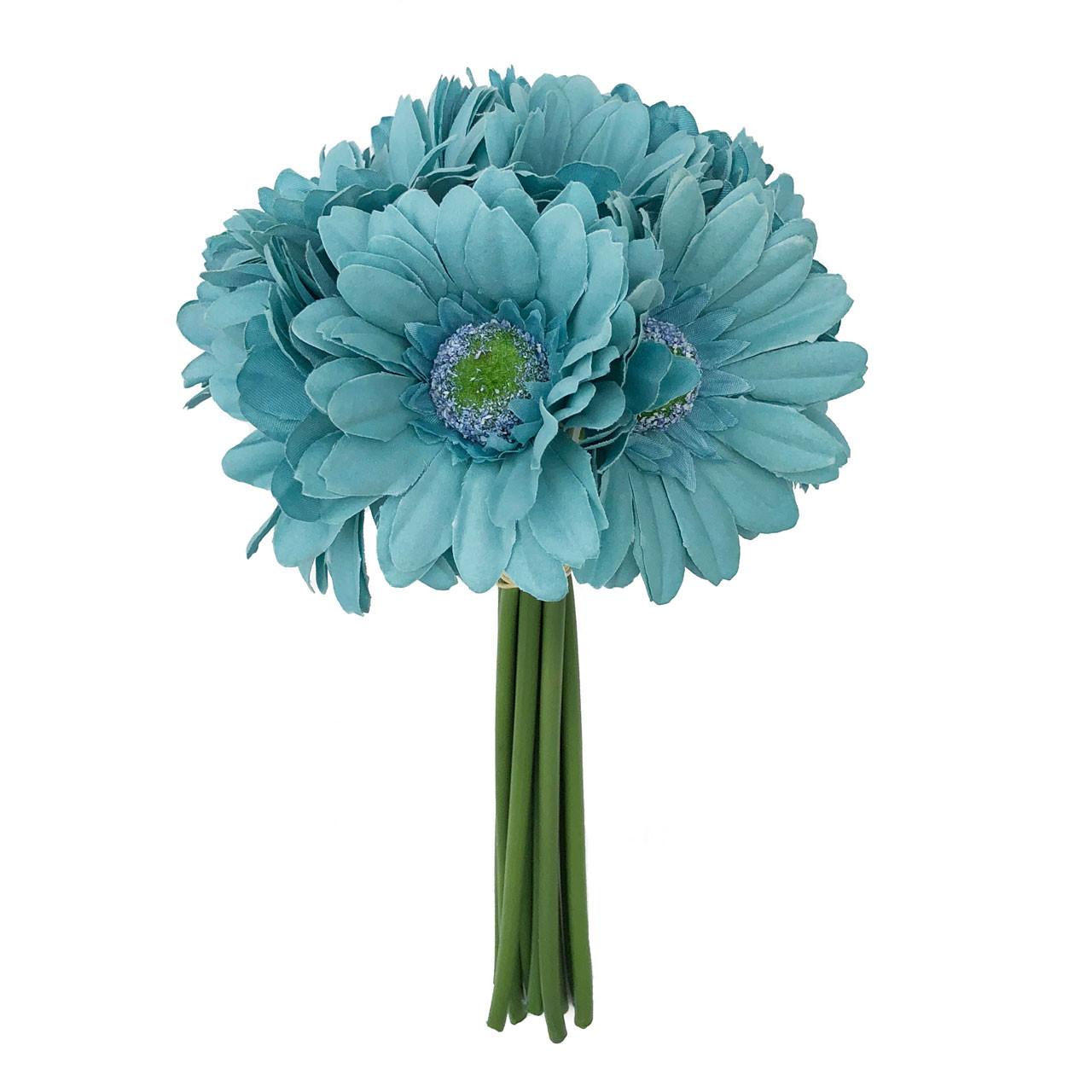 Aqua Blue Daisy Bouquet Small Silk Wedding Flowers 9 Stem