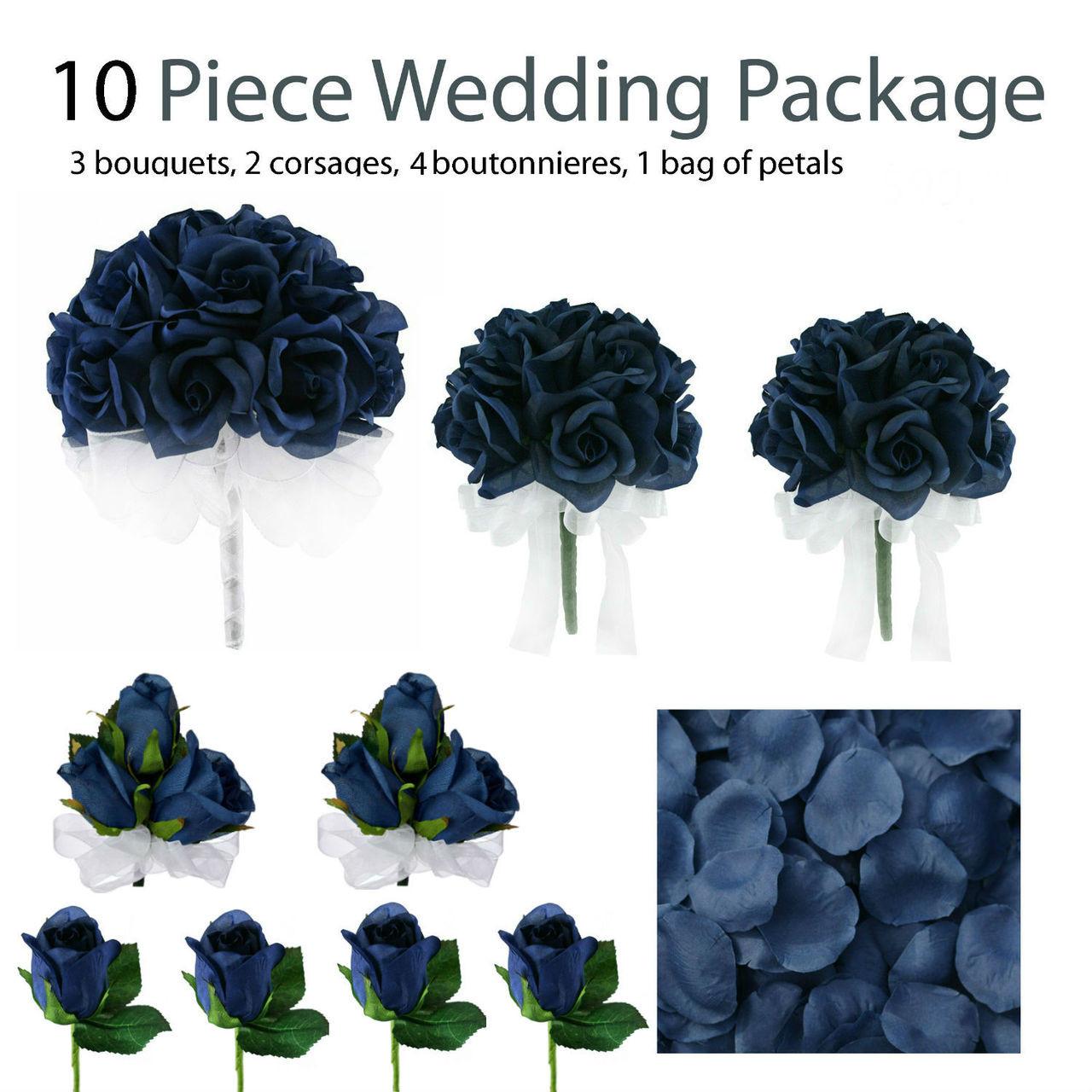 10 Piece Navy Blue Silk Wedding Flower Package Navy Blue Rose Silk