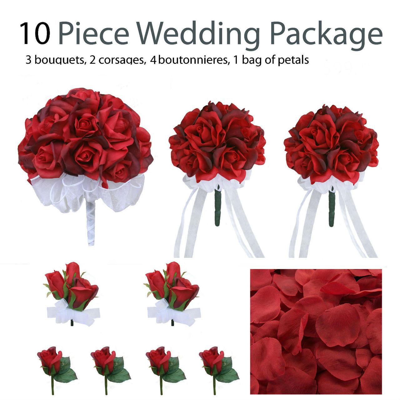 Bridal Bouquet Silk Wedding Flowers: Red Rose Wedding Flower Package
