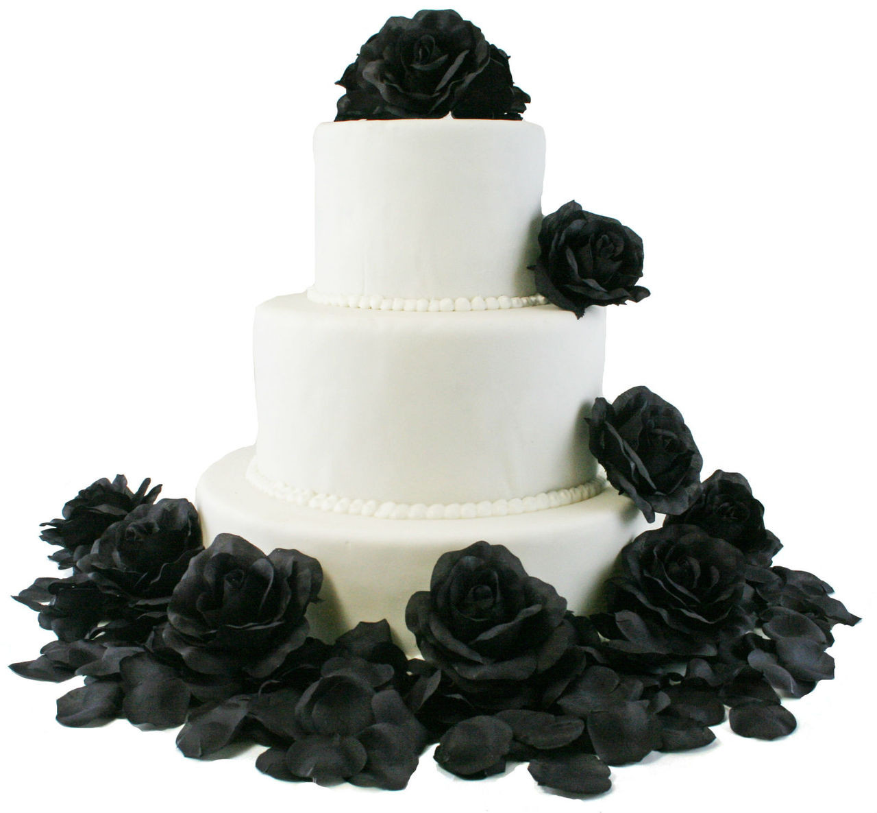 Black Rose Flower Cake Toppers Silk Flowers For Cake Wedding Cake Flowers Decorations Beautiful Wedding Cakes With Flowers