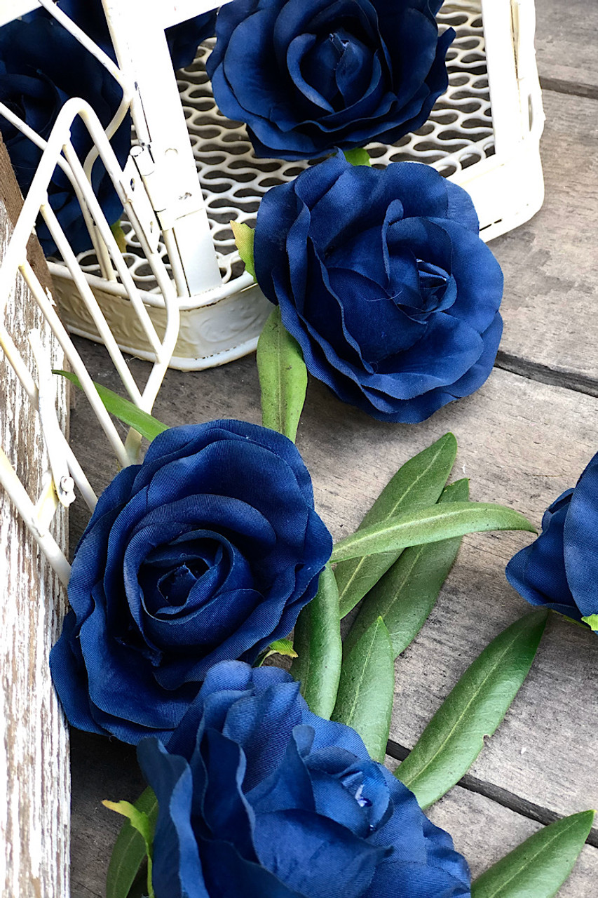 Navy Blue Rose Heads Artificial Flowers Wedding Centerpieces Silk Roses Faux Flowers Wedding Decorations Flowers In Bulk 10 Heads