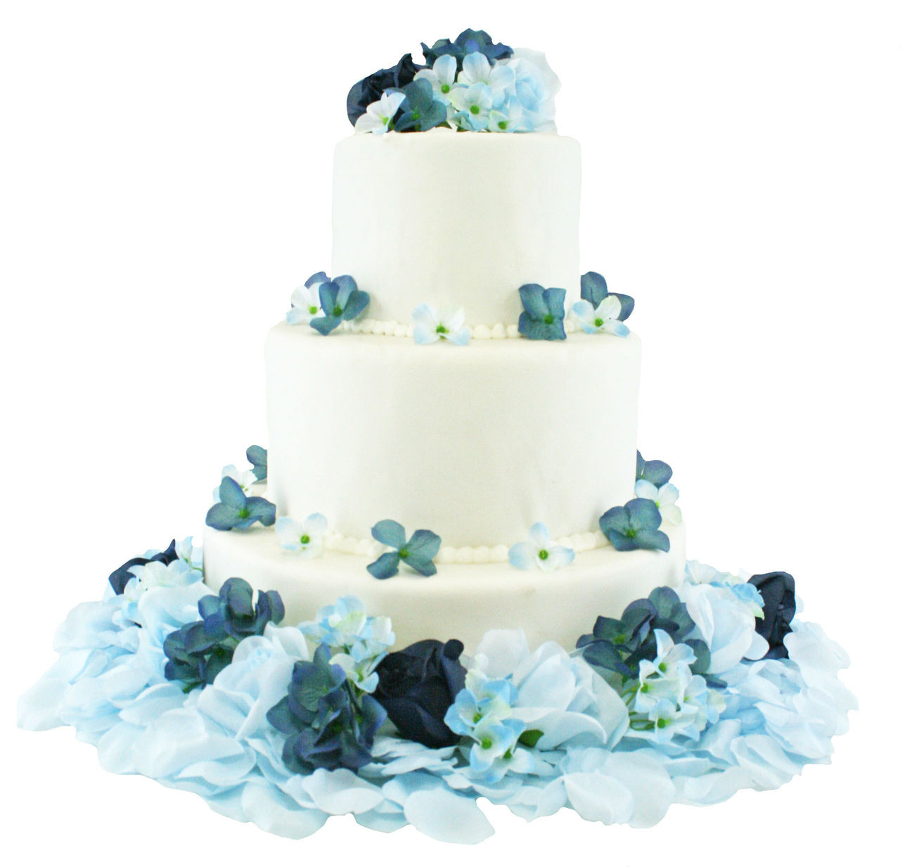 Navy Light Beach Blue Hydrangea Rose Flower Cake Toppers Silk Flowers For Cake Wedding Cake Flowers Decorations Beautiful Wedding Cakes With