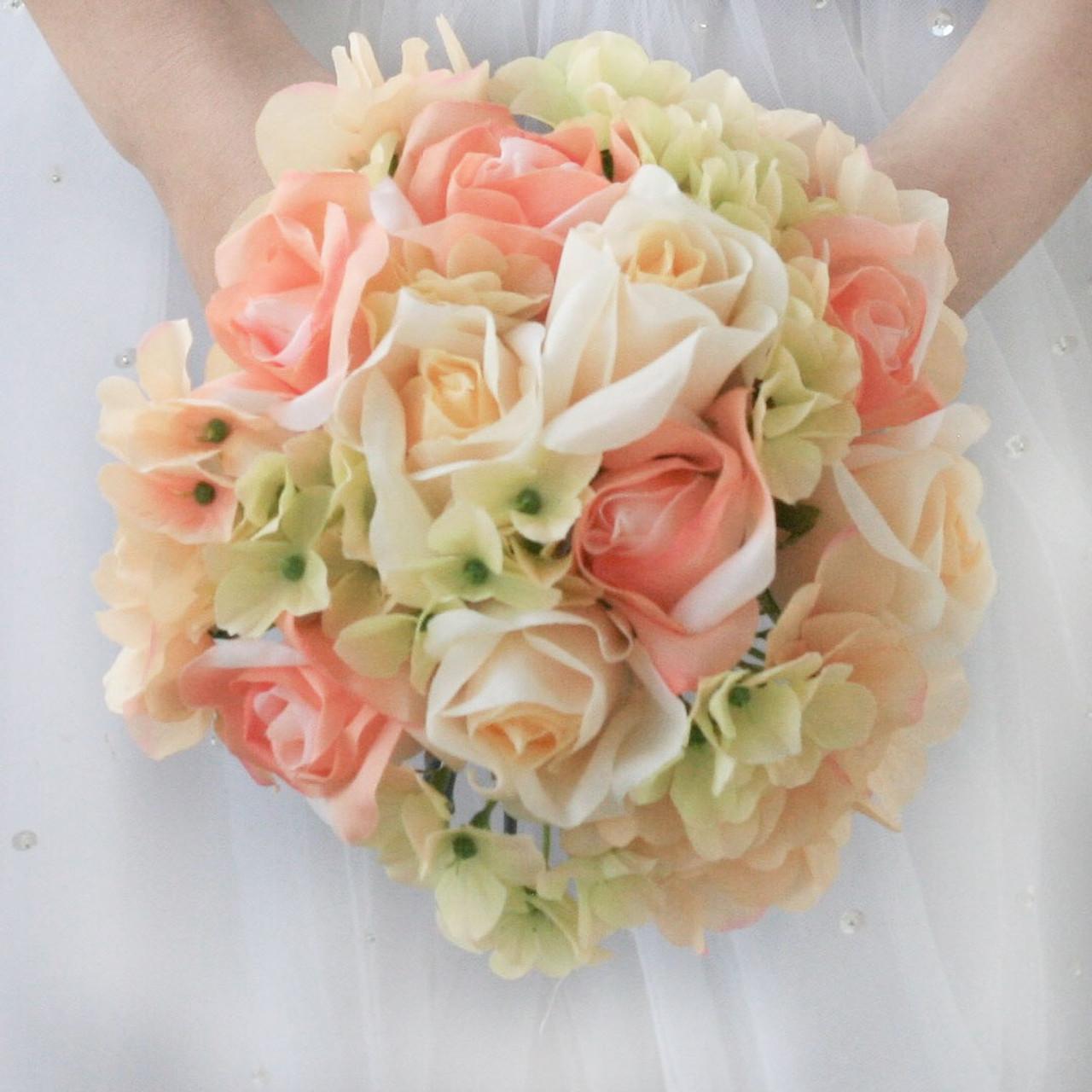 Silk Flowers Wedding Bouquets.Hydrangea Rose Coral Yellow Peach Artificial Wedding Bouquets Silk Wedding Flowers Bridesmaid Bouquets Small
