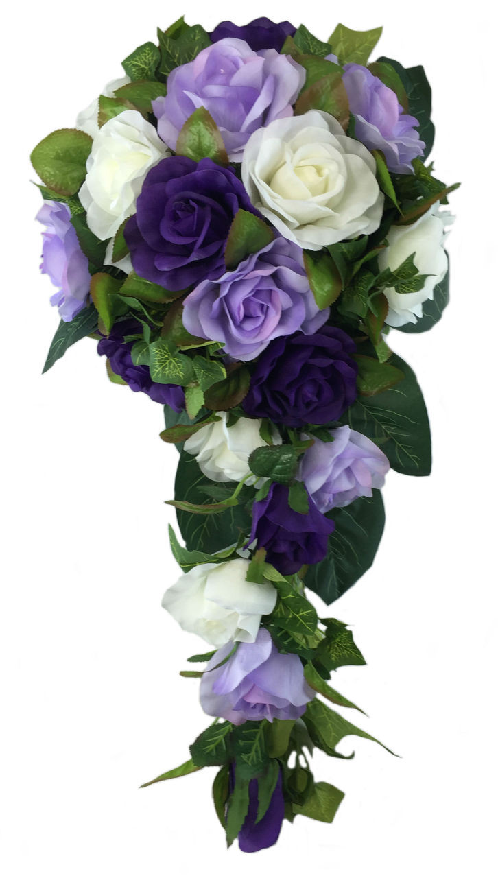 SILK WEDDING FLOWER BOUQUET PURPLE LAVENDER ROSES LILAC THROWAWAY FLOWERS FAKE