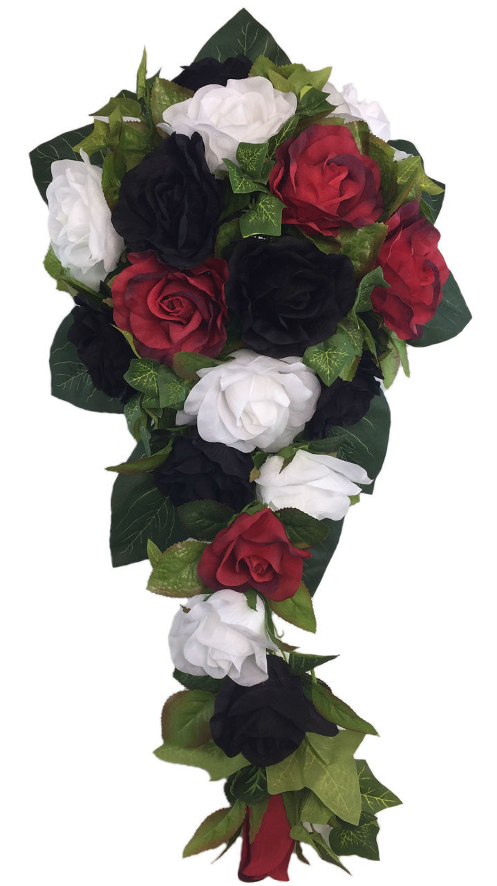 Red White And Black Silk Rose Flower Cascade Artificial Silk