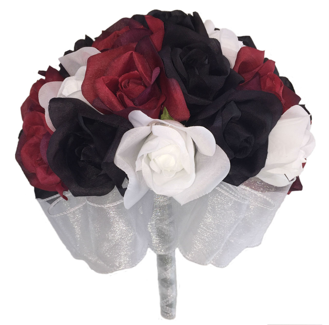 24 Roses Red Black White Silk Flower Bridal Bouquet Wedding
