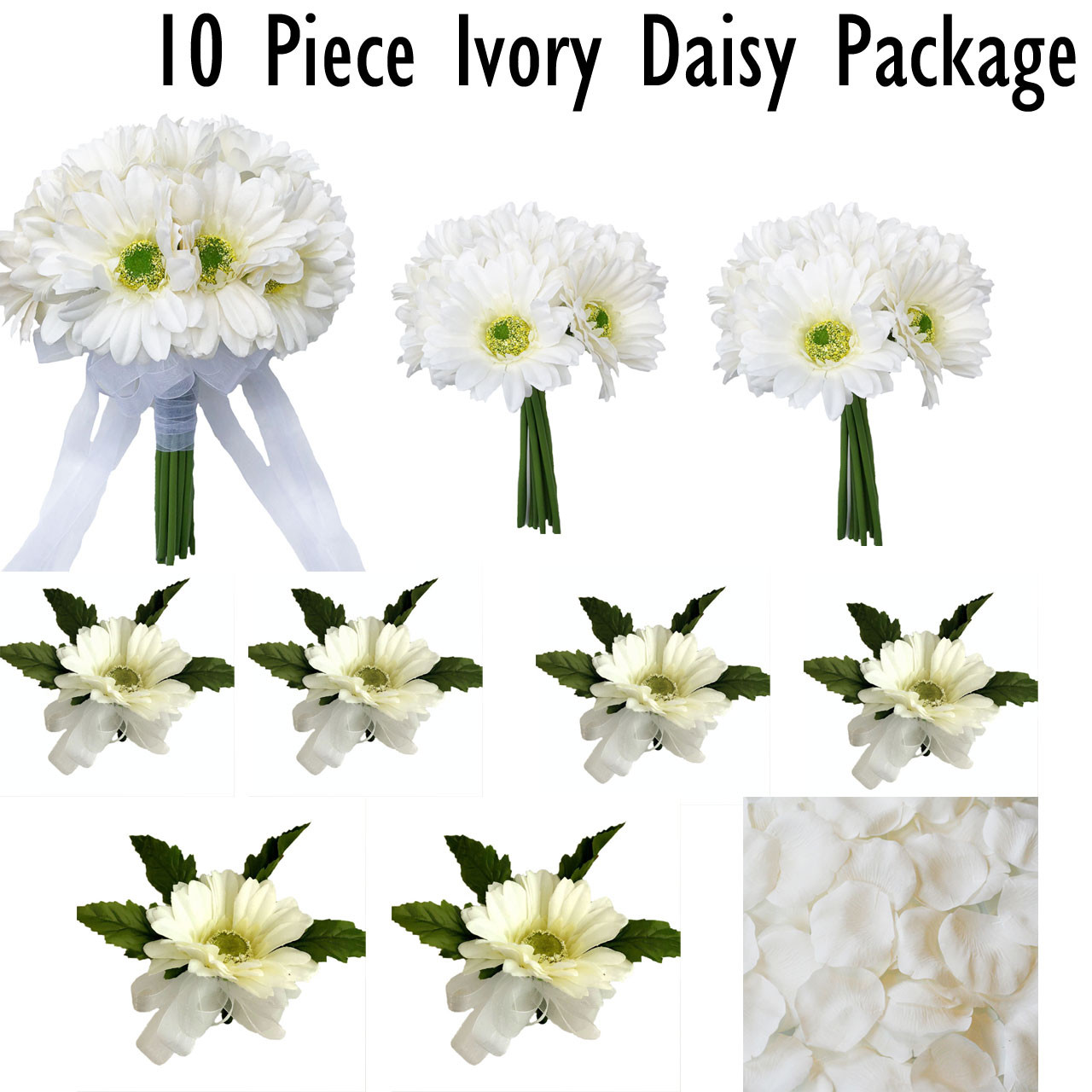 ivory daisy flower package | bridal bouquet | artificial wedding flowers |  silk wedding bouquets | corsage and boutonniere (10 pc package)