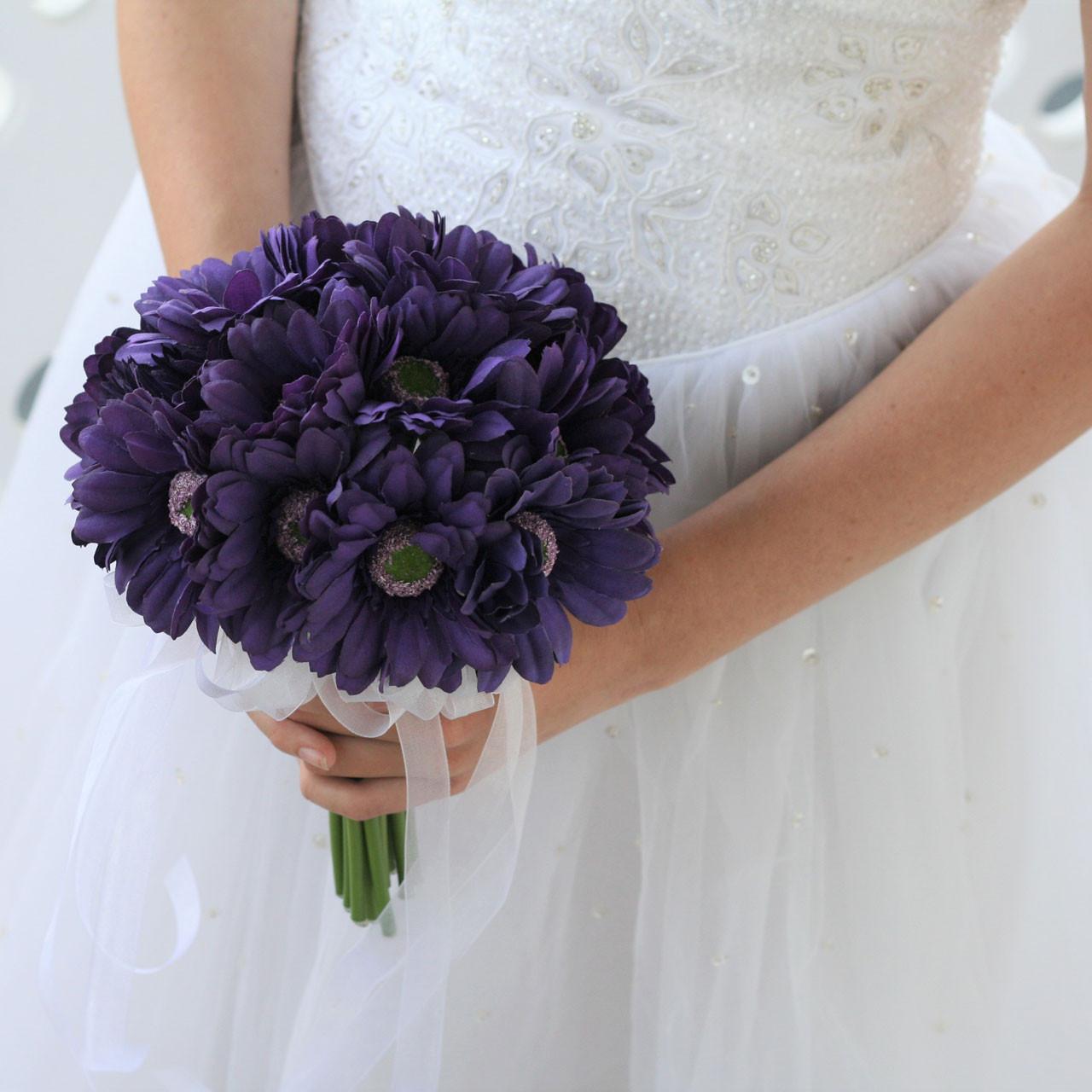 Bride Artificial Rose Bouquet Silk Flower Bunch Party Wedding Decors Purple