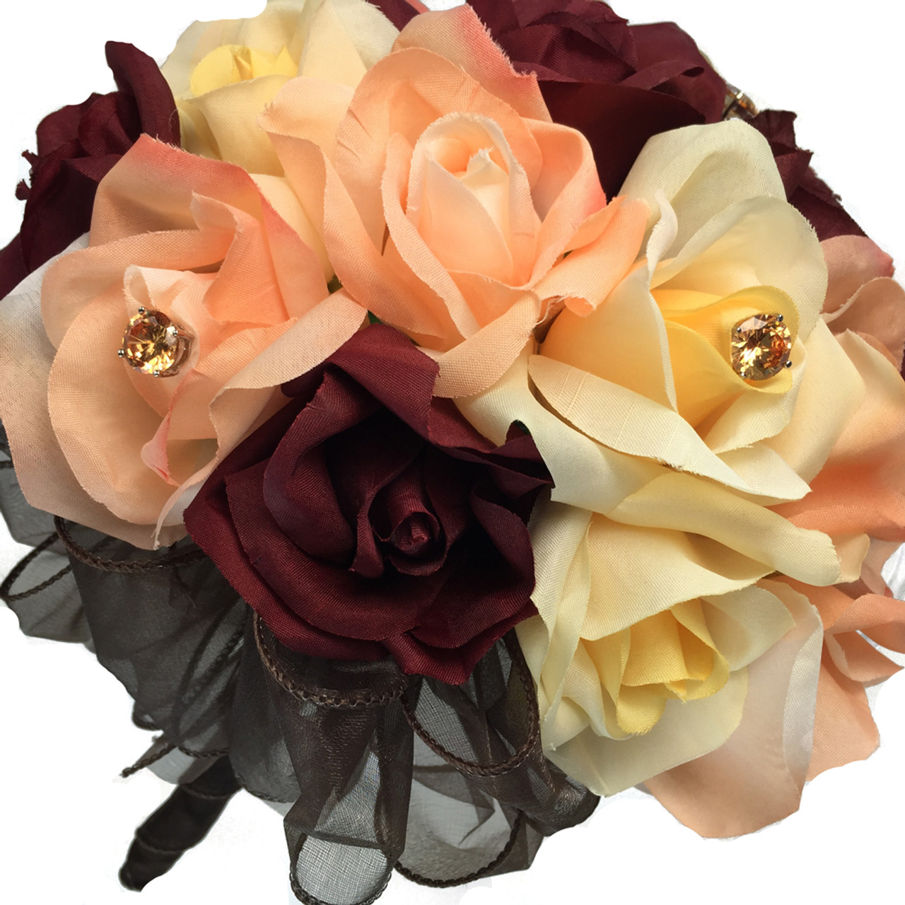 Burgundy Peach Coral Yellow Rose Bouquet Wedding Fall Wedding Flowers Cheap Bridal Bouquets Silk Bridesmaid Bouquets Artificial Wedding Bouquets Two Dozen Roses Thebridesbouquet Com