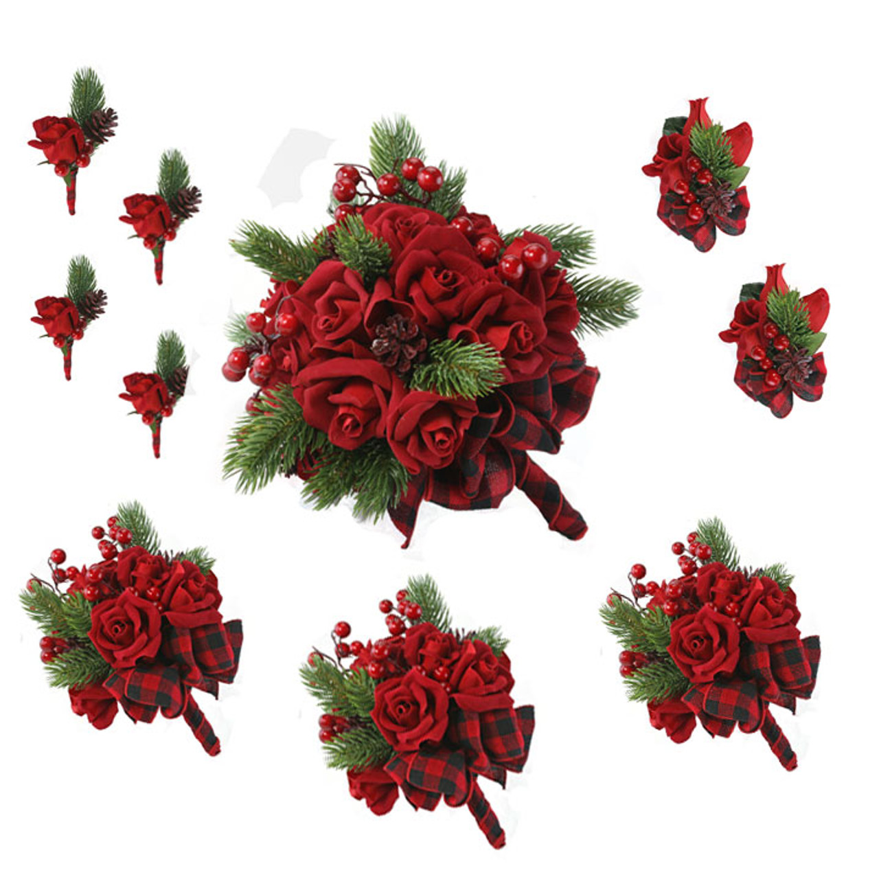 Velvet Red Rose Wedding Flower Package Silk Wedding Flowers Christmas Cheap Bridal Bouquets Bridesmaid Bouquets Boutonniere Corsage Artificial Wedding Bouquets 10 Pc Package Thebridesbouquet Com