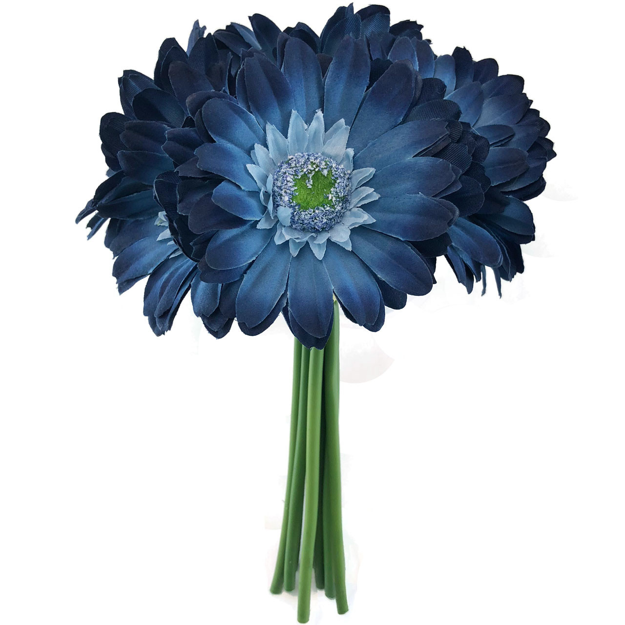 Blue Daisy Wedding Bouquet Silk Bridal Flowers 9 Stem