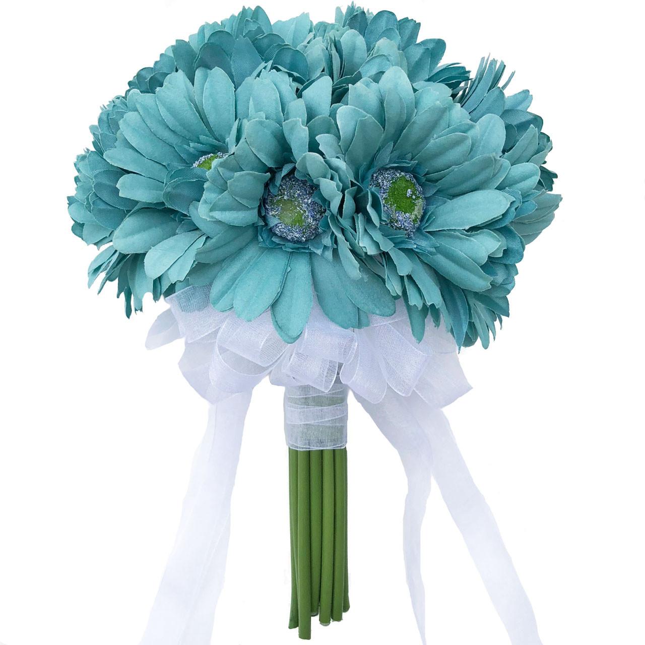 Aqua Blue Daisy Bridal Bouquet