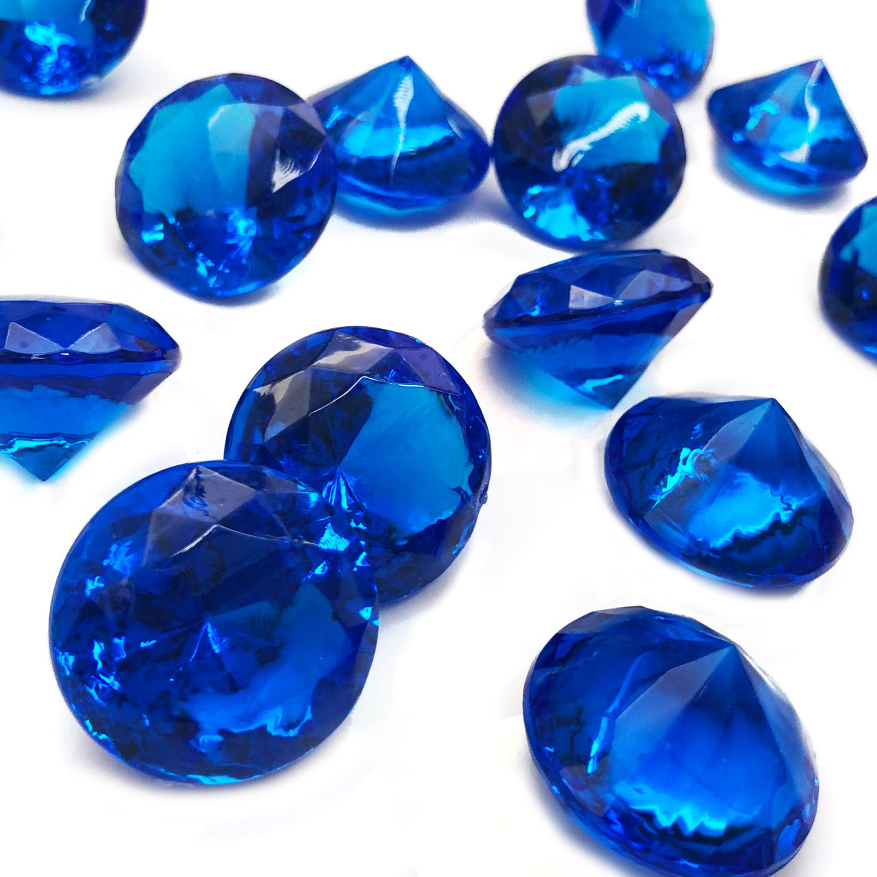 40 Blue Acrylic Crystal Diamonds Large One Inch Jewels Table Centerpiece Wedding Decorations Bridal Shower Party Confetti Vase Filler