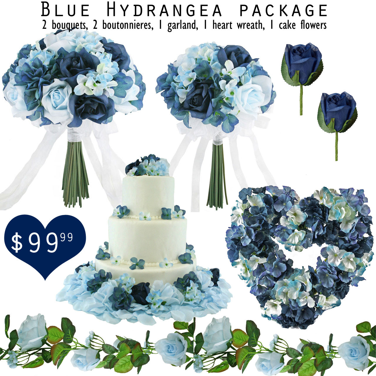 Blue Hydrangea Wedding Flowers: Blue Hydrangea & Roses Bridal Package
