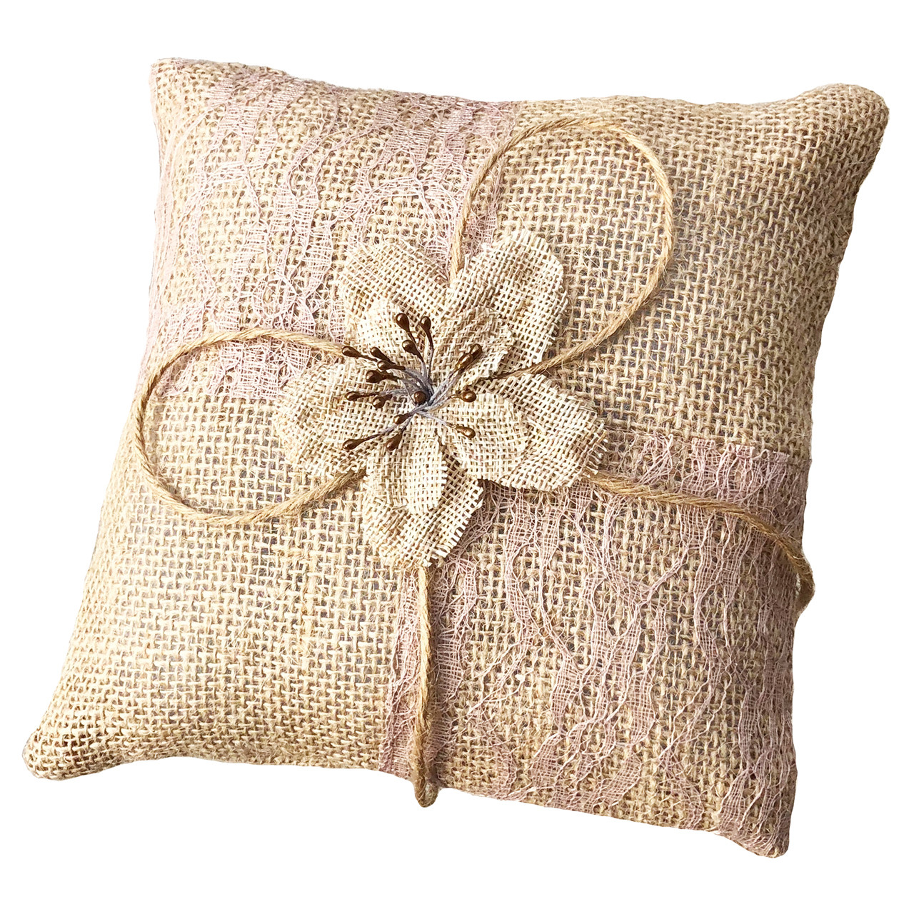 burlap ring bearer pillow wedding ring pillow rustic wedding decoration