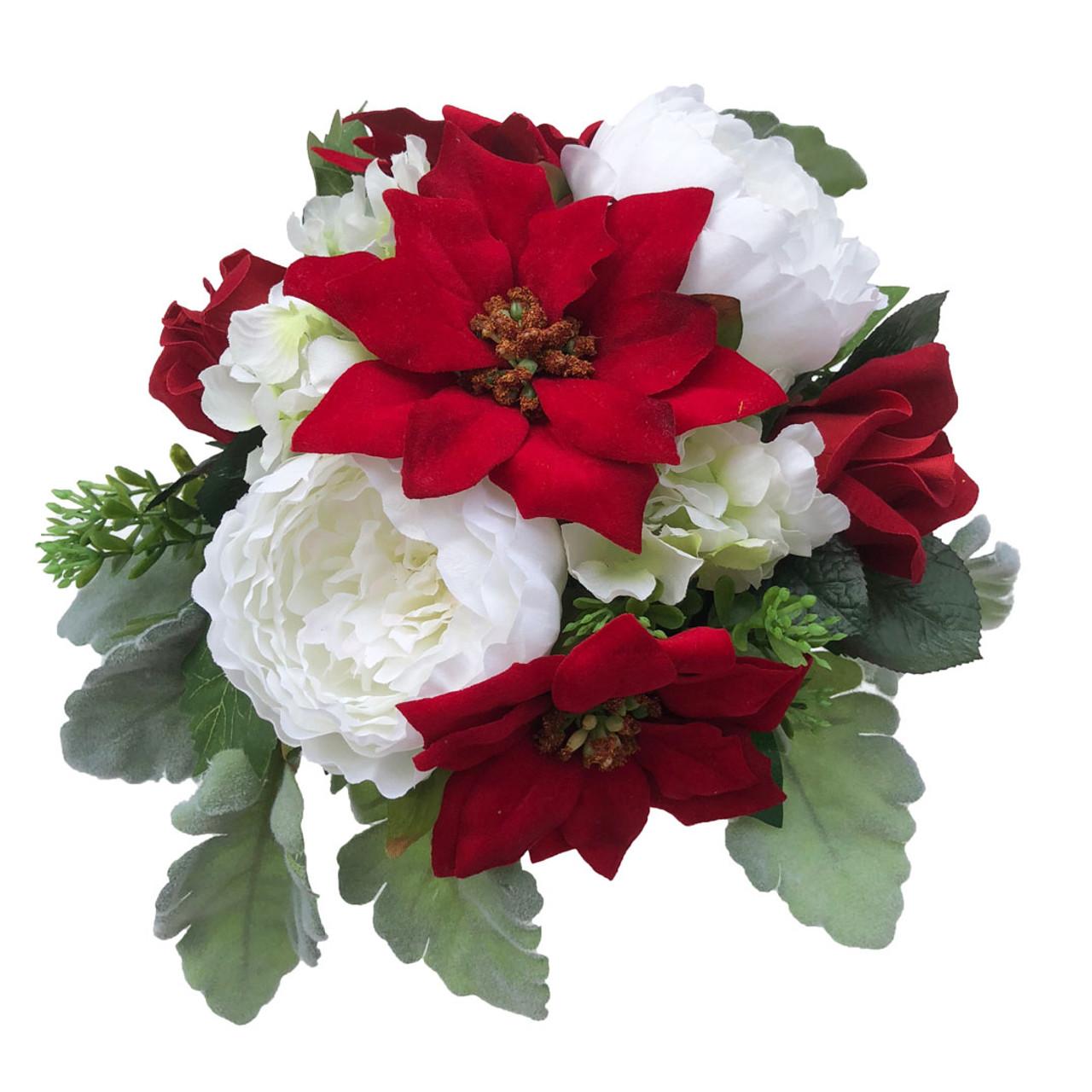 Red Christmas Poinsettia Velvet Holiday Wedding Silk Flower Bridal