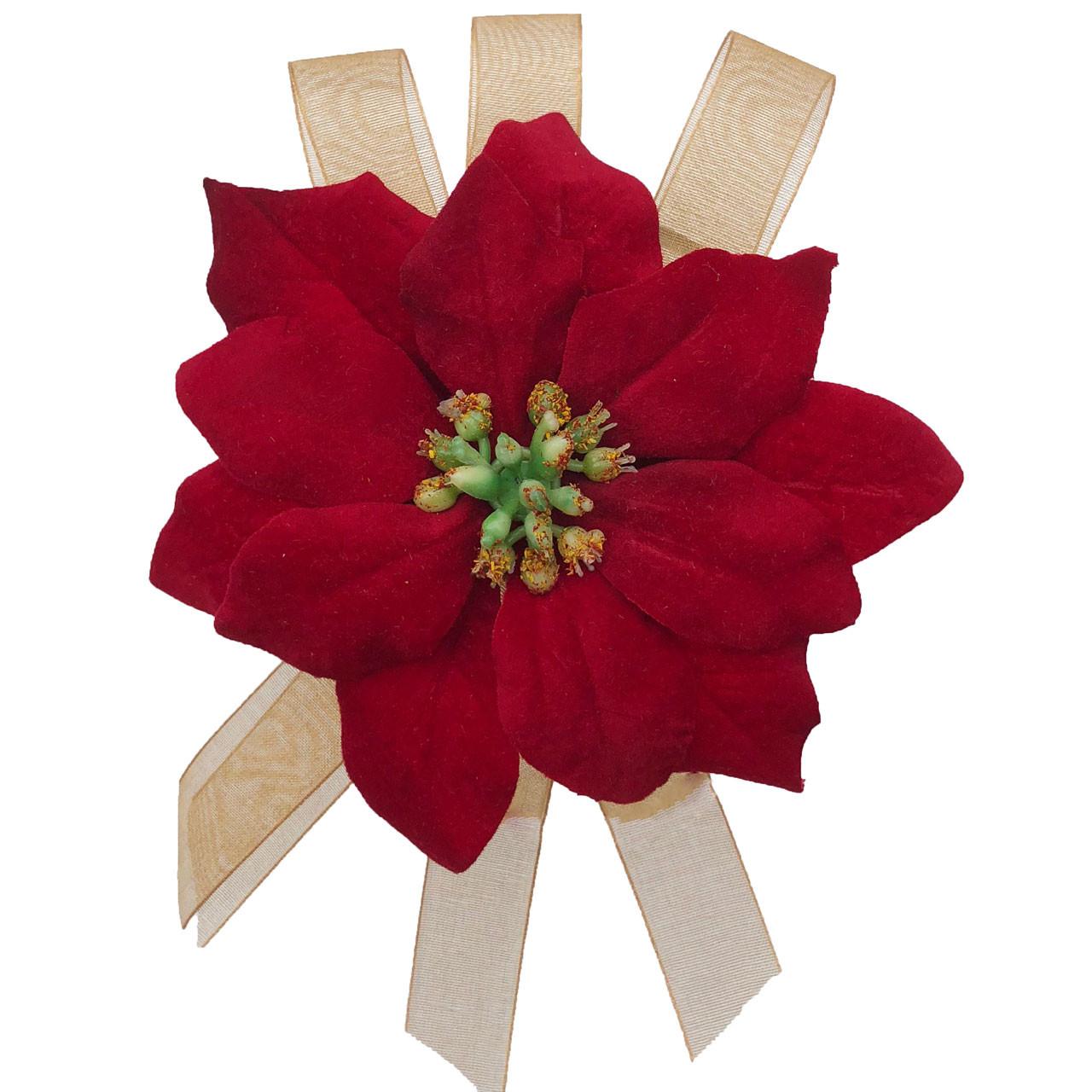 Red Christmas Poinsettia Velvet Holiday Formal Party Wedding Silk