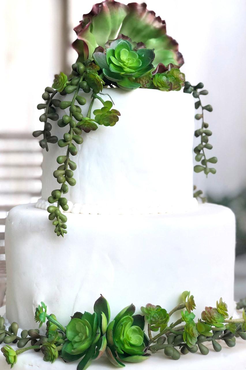 Succulent Cake Decorations Artificial Succulents Wedding Cake