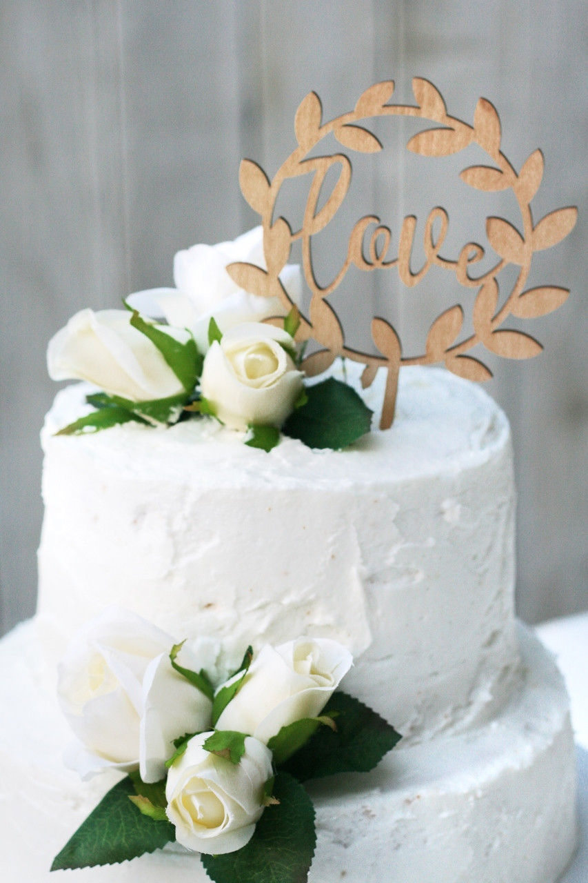 Wedding Cake Topper.Wedding Cake Topper With Roses Decorations For Reception Anniversary Bridal Shower Love Wreath