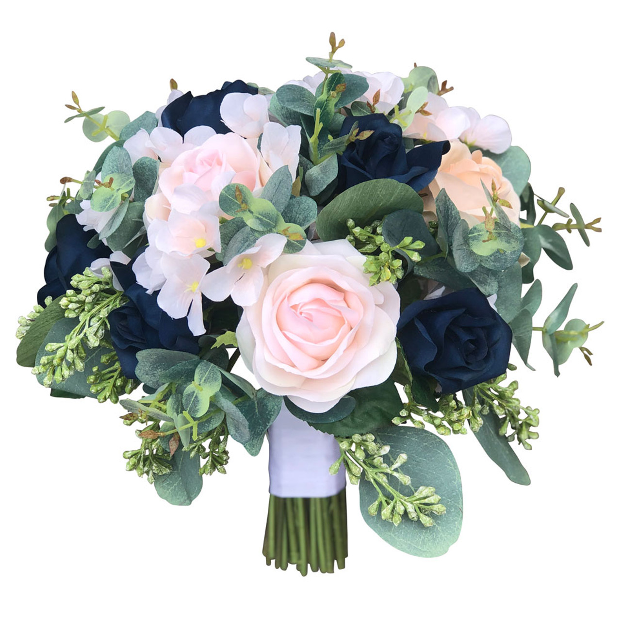 Navy And Blush Pink Champagne Silk Bridal Bouquet With Eucalyptus Large Thebridesbouquet Com