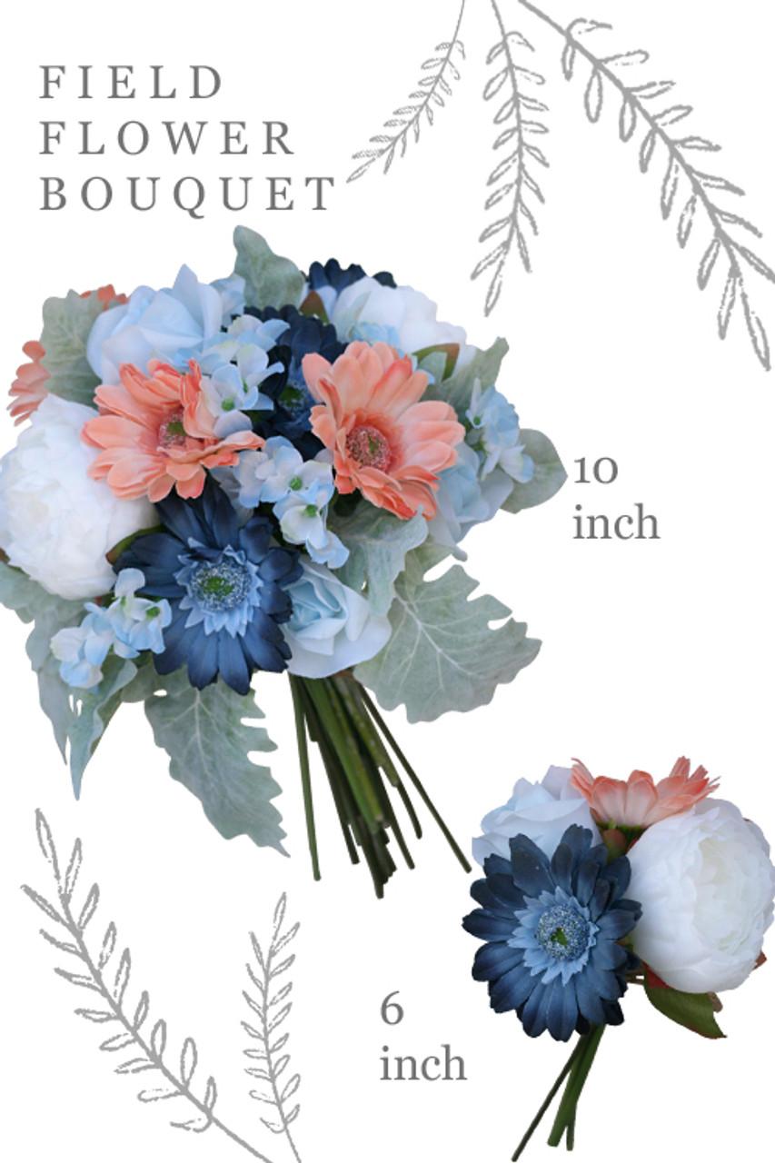 Silk Flowers Wedding Bouquets.Silk Wedding Bouquets Field Flower Mix In Navy Blue Coral 6in Bouquet