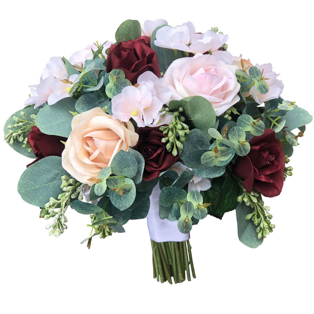 Burgundy Blush Champagne Wedding Bouquets Artificial Flowers Large Thebridesbouquet Com