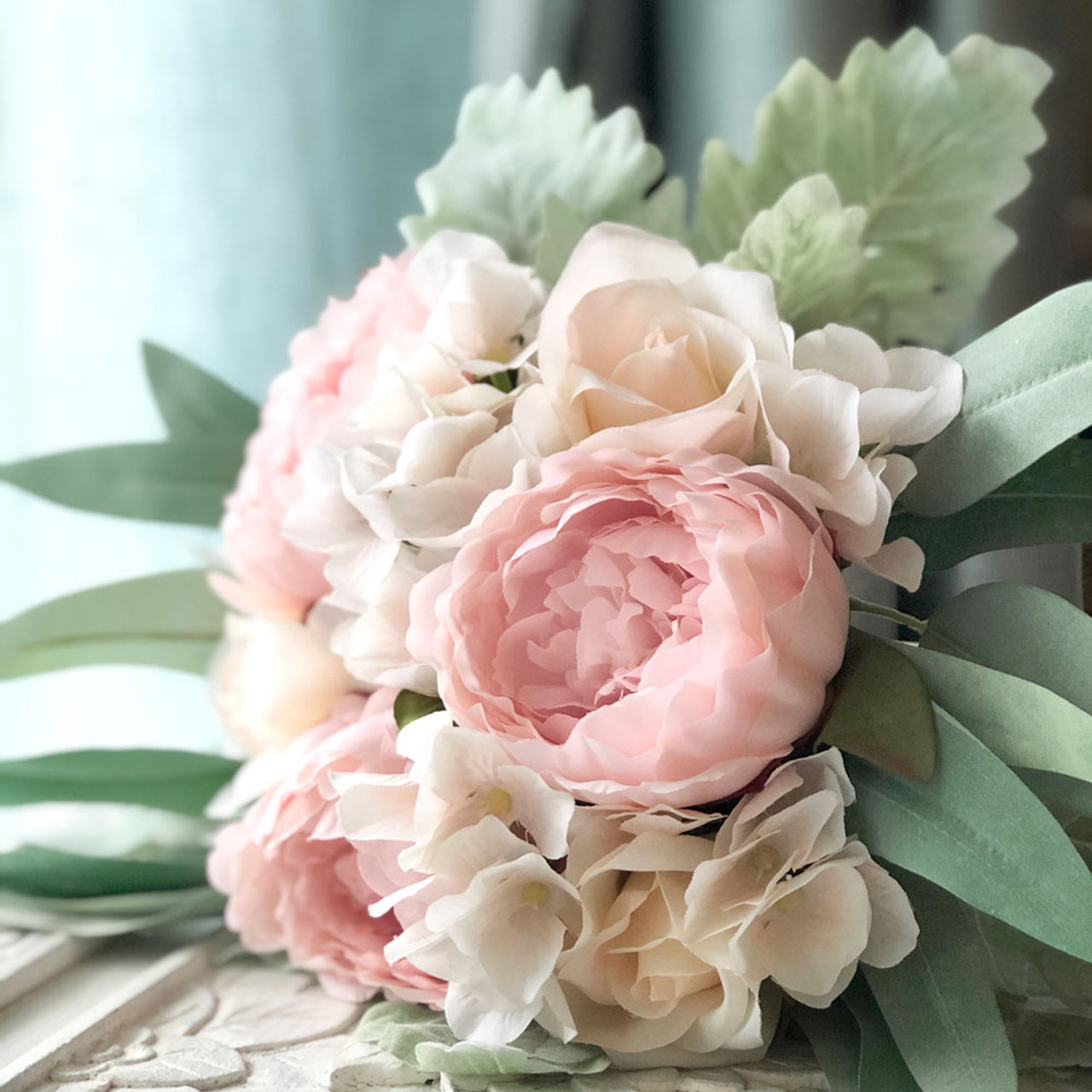 Blush Pink Peony Eucalyptus Wedding Bouquets Artificial Flowers Medium Thebridesbouquet Com